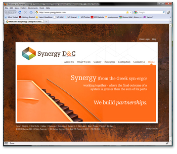 Synergy D & C Website Homepage