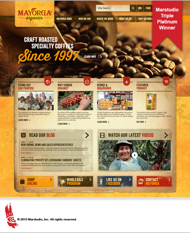 Screenshot of Hermes triple platinum award winner Mayorga Organics coffee website by Marstudio