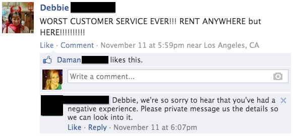 Good customer service on Facebook with angry customer
