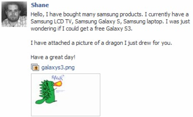 Dragon doodle sent to Samsung on Facebook