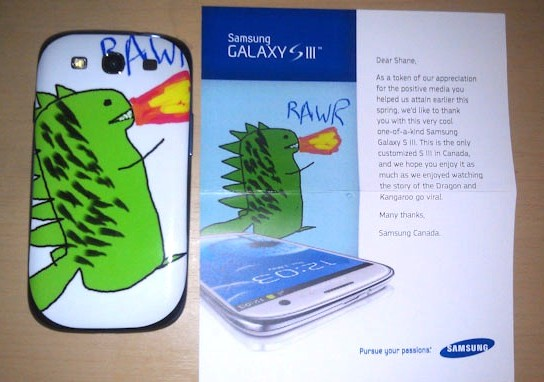 Free phone from Samsung for customer who drew a dragon