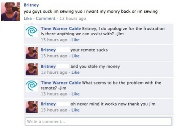 Funny customer service by Time Warner on Facebook
