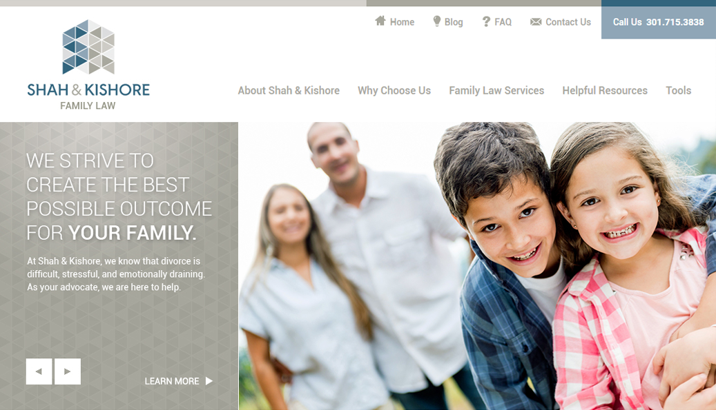"""After"" screenshot of the Shah & Kishore Family Law homepage slideshow."