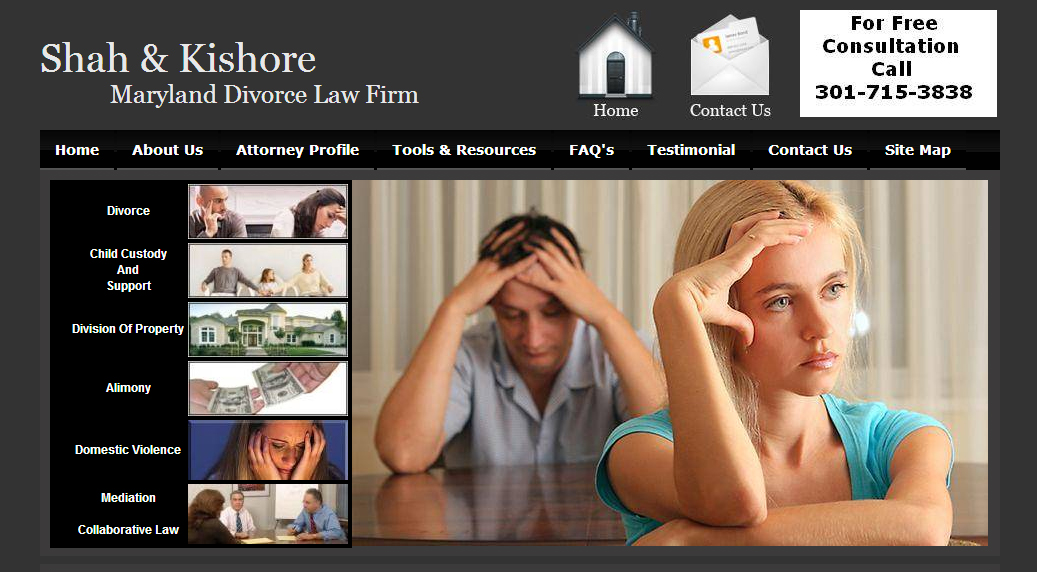 """Before"" screenshot of the Shah & Kishore Family Law homepage slideshow."